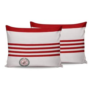 Sada 2 červeno-bielych bavlnených obliečok na vankúše Beverly Hills Polo Club Rojo, 50 × 70 cm