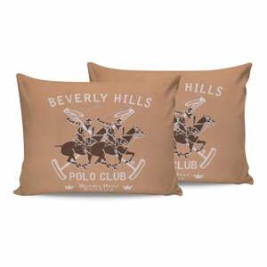 Sada 2 hnedých bavlnených obliečok na vankúše Beverly Hills Polo Club Marro, 50 × 70 cm