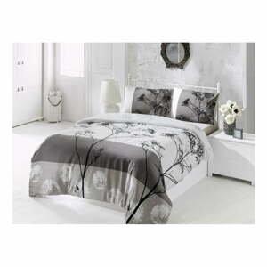 Sivé obliečky s prímesou bavlny na jednolôžko Blezza V2, 140 × 200 cm