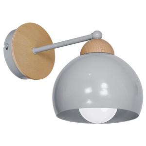 Sivé nástenné svietidlo s drevenými detailmi Dama
