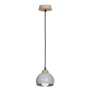 Sivé závesné svietidlo s drevenými detailmi Dama Uno