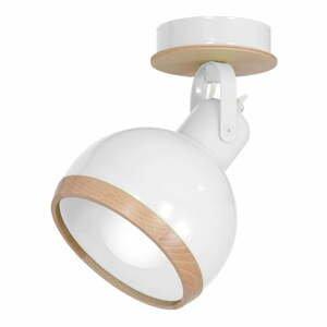 Biele nástenné svietidlo s drevenými detailmi Oval