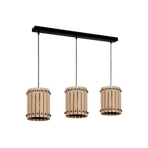 Čierne závesné svietidlo s drevenými detailmi Egon Tres