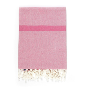 Ružovo-béžová osuška s prímesou bavlny Kate Louise Cotton Collection Line Pink Beige, 100 × 180 cm