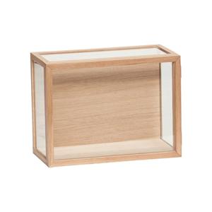 Presklený úložný box s rámom z dubového dreva Hübsch Pargo