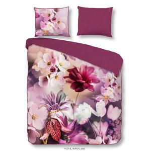 Ružové obliečky z bavlneného saténu na dvojlôžko Descanso Sonja Pink, 200×200 cm