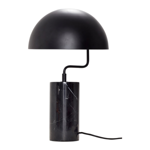 Čierna stolová železná lampa s detailmi z mramoru Hübsch Gero