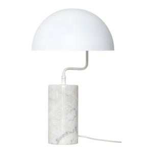 Biela stolová železná lampa s detailmi z mramoru Hübsch Gero