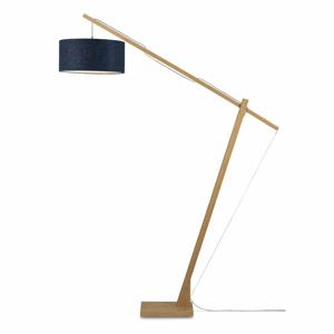 Stojacia lampa s tmavomodrým tienidlom a konštrukciou z bambusu Good&Mojo Montblanc