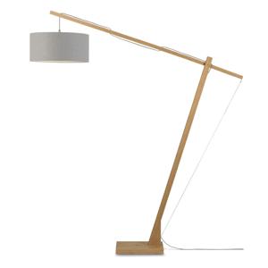 Stojacia lampa so svetlosivým tienidlom a konštrukciou z bambusu Good&Mojo Montblanc