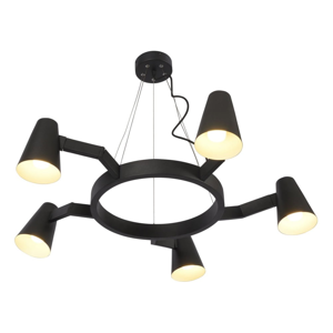 Čierne závesné svietidlo pro 5 žárovek Citylights Biarritz