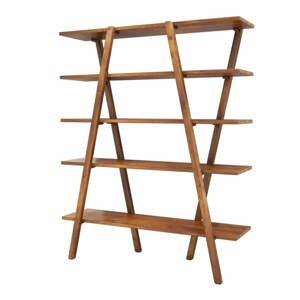 Knižnica z borovicového dreva Perla Walnut, 148 × 120 cm