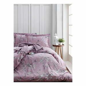 Obliečky s plachtou z ranforce bavlny na dvojlôžko Chicory Pink, 200 x 220 cm