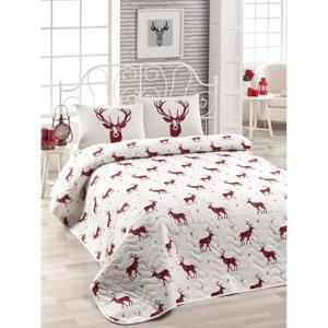 Set plédu cez posteľ a 2 obliečky na vankúš s prímesou bavlny Geyik Claret Red, 200 x 220 cm