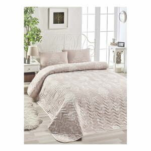 Set prehozu cez posteľ a 2 obliečok na vankúš s prímesou bavlny EnLora Home Kralice Pink, 200 x 220 cm