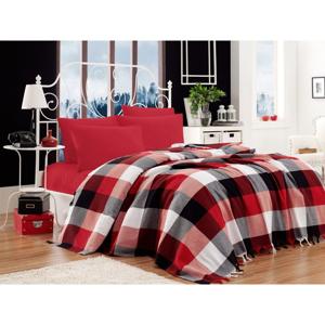 Set bavlneného plédu cez posteľ, plachta a 2 obliečky na vankúš Iskoc Red Black White, 200 x 240 cm