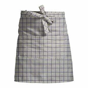 Sivá kockovaná zástera s prímesou ľanu Linen Couture Delantal Simple Squares