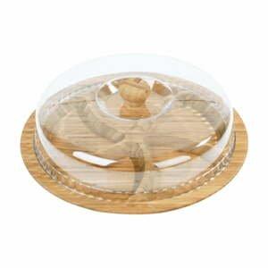 Bambusový podnos na raňajky s pokrievkou Siglitiki, ø 30 cm