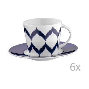 Sada 6 porcelánových hrnčekov na čaj s tanierikmi Mertios, 200 ml