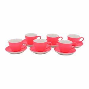 Súprava 6 tmavoružových porcelánových hrnčekov s tanierikmi Efrasia, 200 ml