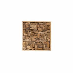 Nástenná dekorácia z recyklovaného teakového dreva WOOX LIVING City, 70 × 70 cm
