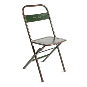 Zelená skladacia ručne vyrábaná stolička z recyklovaného kovu RGE Mash