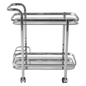 Pojazdný vozík z pochrómovanej ocele a sklenenou doskou RGE Vodka