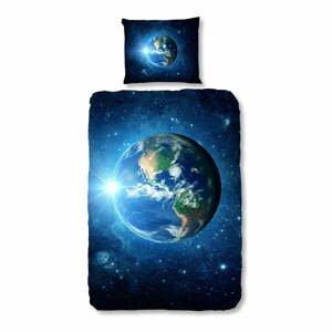 Detské bavlnené obliečky na jednolôžko Good Morning Earth Blue, 140 x 200 cm