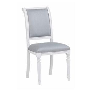Biela buková jedálenská stolička s modro-sivým polstrovaním Rowico Mozart