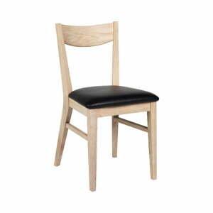Hnedá dubová jedálenská stolička s podsedadlom z kůže Rowico Dylan