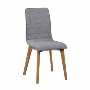 Sivá jedálenská stolička s hnedými nohami Rowico Grace