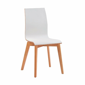 Biela jedálenská stolička s hnedými nohami Rowico Grace