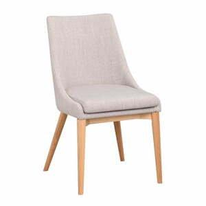 Svetlosivá polstrovaná jedálenská stolička s hnedými nohami Rowico Bea