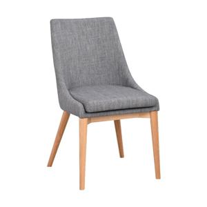 Sivá polstrovaná jedálenská stolička s hnedými nohami Rowico Bea