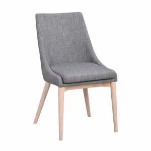 Sivá polstrovaná jedálenská stolička so svetlohnedými nohami Rowico Bea