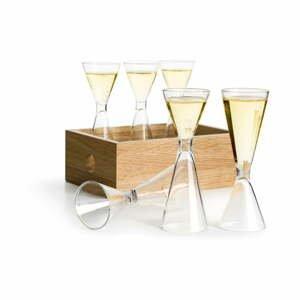 Sada 6 ručne fúkaných pohárikov s dubovou škatuľkou Sagaform Schnapps