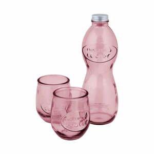 Set ružovej fľaše na vodu a 2 pohárov z recyklovaného skla Ego Dekor Water