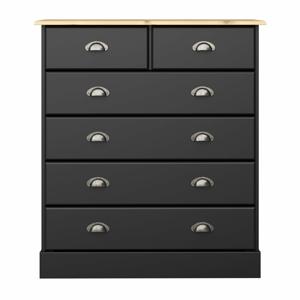 Čierna komoda so 6 zásuvkami Steens Nola