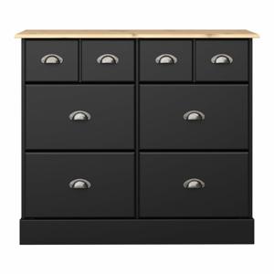 Čierna komoda s 6 zásuvkami Steens Nola, 78,5 × 91,4 cm