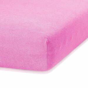 Ružová elastická plachta s vysokým podielom bavlny AmeliaHome Ruby, 200 x 100-120 cm
