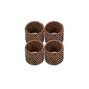 Sada 4 tmavohnedých ratanových krúžkov na servítky Tiseco Home Studio