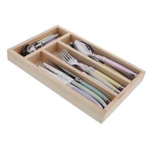 24-dielna sada príborov v drevenom príborníku Jean Dubost Pastel