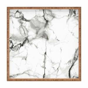 Drevený dekoratívny servírovací podnos Marble, 40×40 cm
