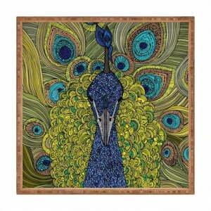Drevený dekoratívny servírovací podnos Peacock, 40×40 cm