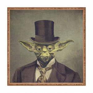 Drevený dekoratívny servírovací podnos Yoda, 40×40 cm