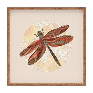 Drevený dekoratívny servírovací podnos Dragonfly, 40×40 cm