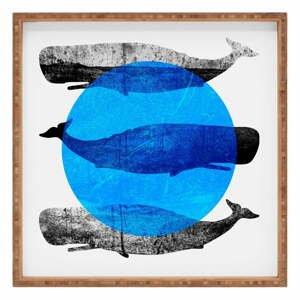 Drevený dekoratívny servírovací podnos Whale, 40×40 cm