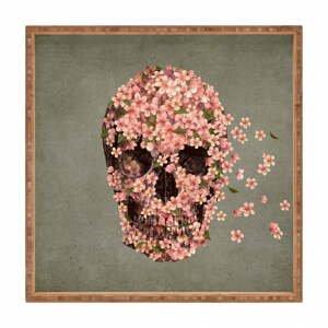 Drevený dekoratívny servírovací podnos Flower Skull, 40×40 cm