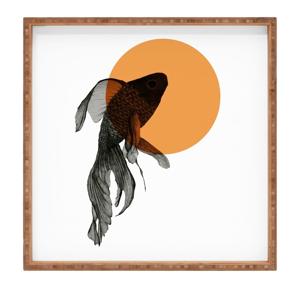 Drevený dekoratívny servírovací podnos Golden Fish, 40×40 cm