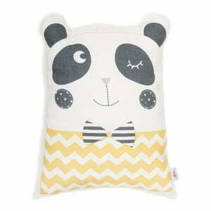 Žltý detský vankúšik s prímesou bavlny Apolena Pillow Toy Panda, 25 x 36 cm